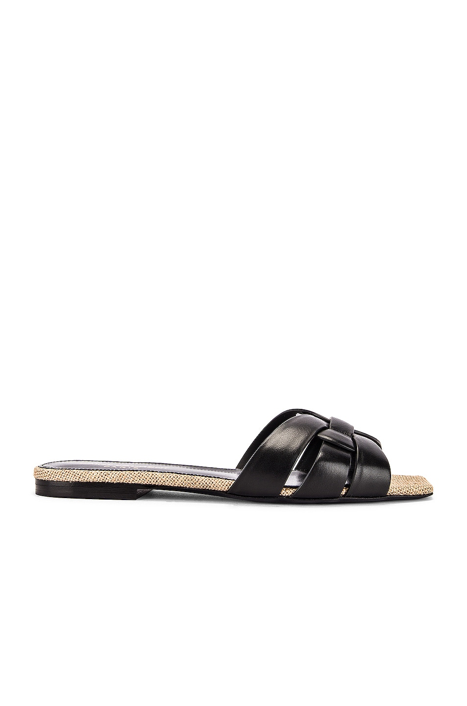 Image 1 of Saint Laurent Leather Slides in Black