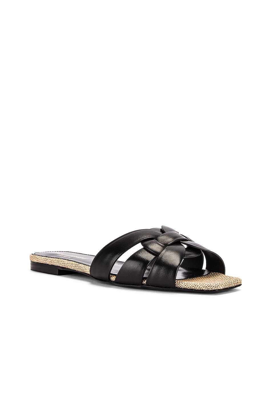 Image 2 of Saint Laurent Leather Slides in Black
