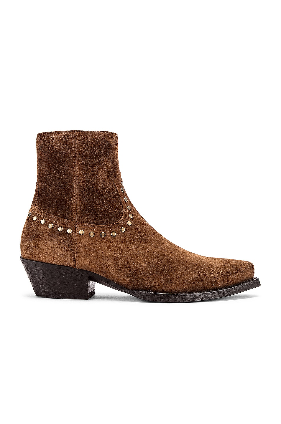 Image 1 of Saint Laurent Lukas Zip Stud Ankle Booties in Land