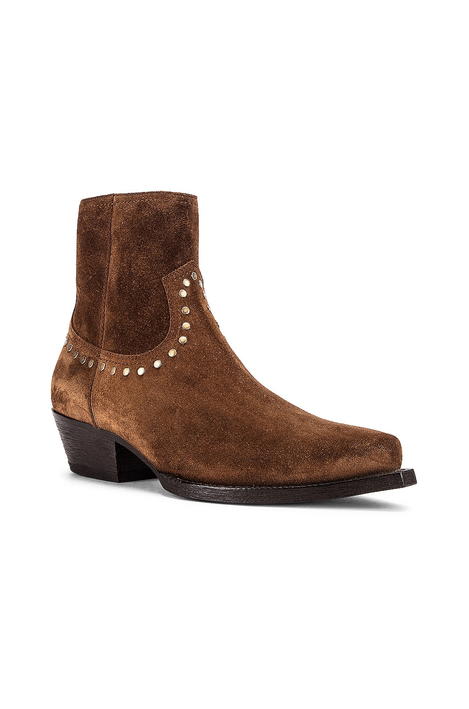 Image 2 of Saint Laurent Lukas Zip Stud Ankle Booties in Land