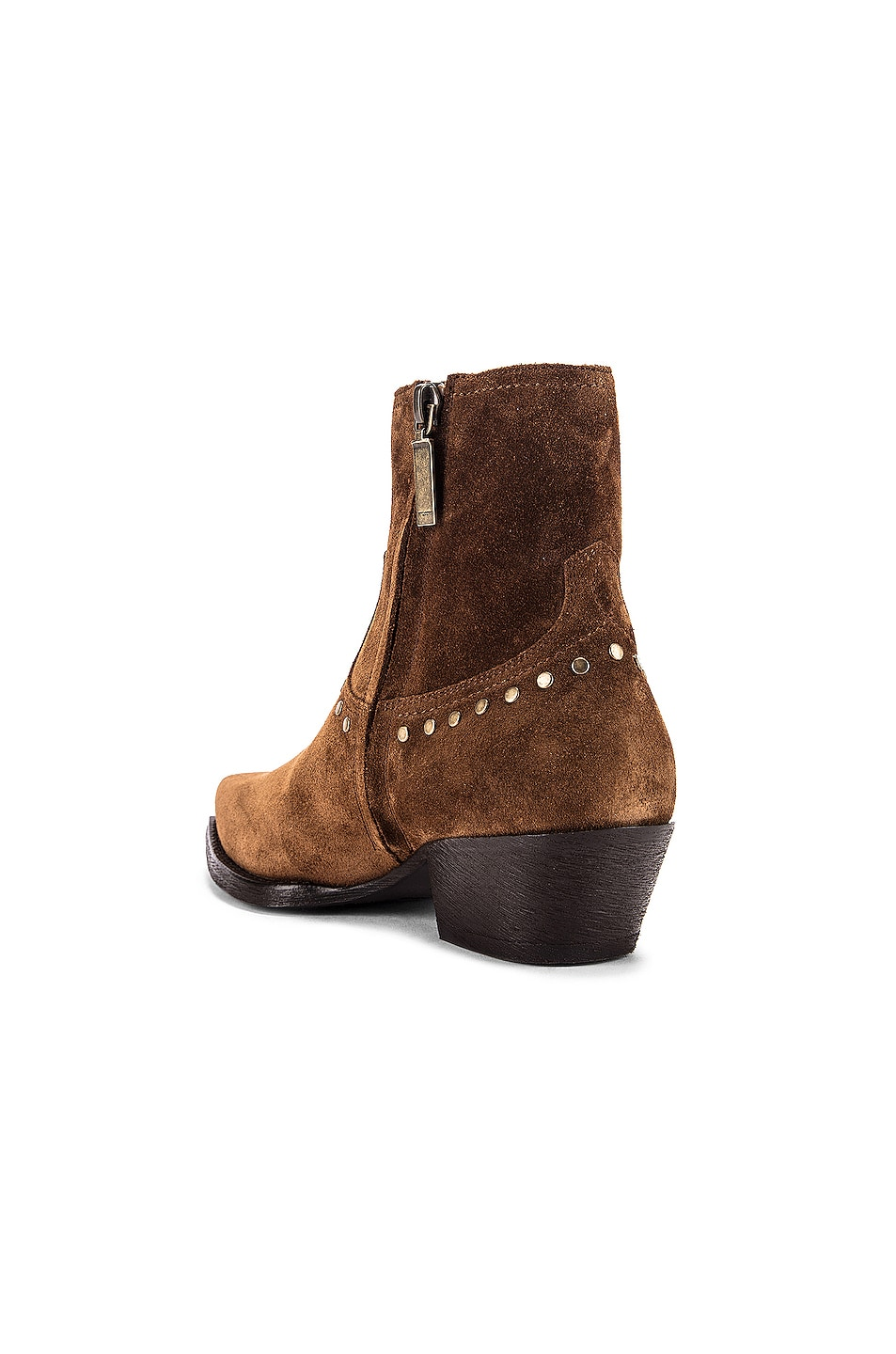 Image 3 of Saint Laurent Lukas Zip Stud Ankle Booties in Land