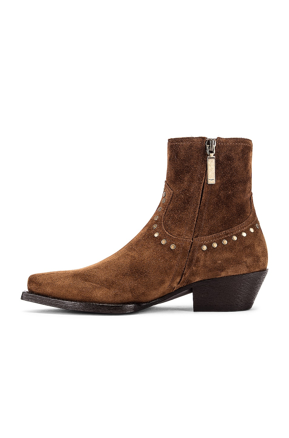 Image 5 of Saint Laurent Lukas Zip Stud Ankle Booties in Land