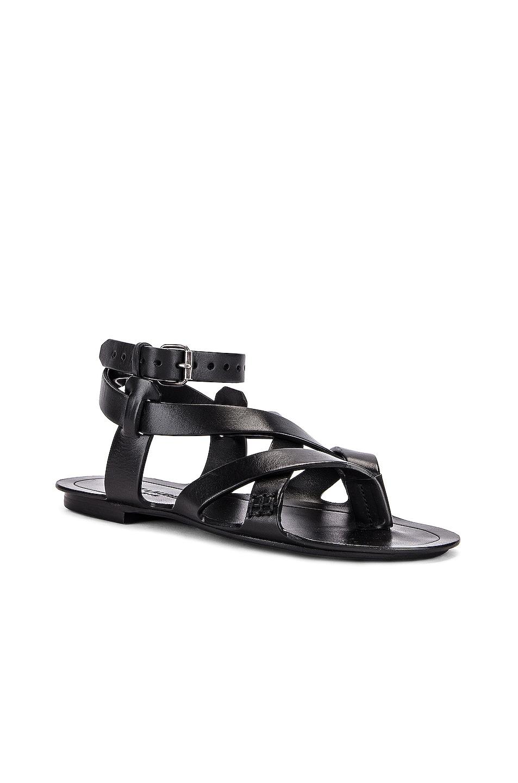 Image 2 of Saint Laurent Culver Buckle Sandals in Black