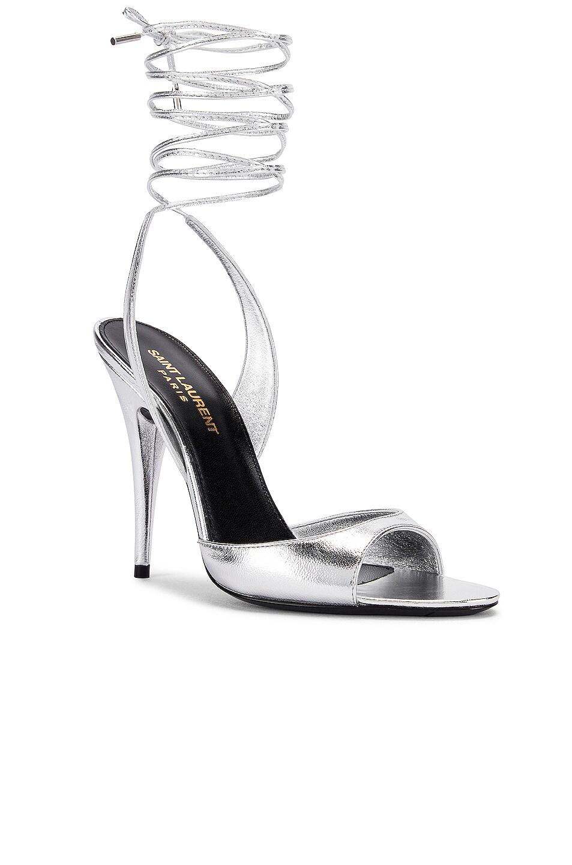 Image 2 of Saint Laurent Anouk Sandals in Silver
