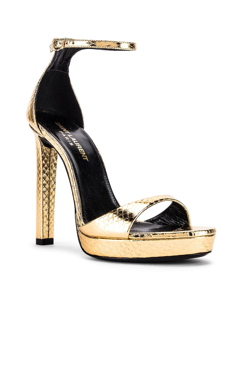 Image 2 of Saint Laurent Hall Ankle Strap Sandals in Gold