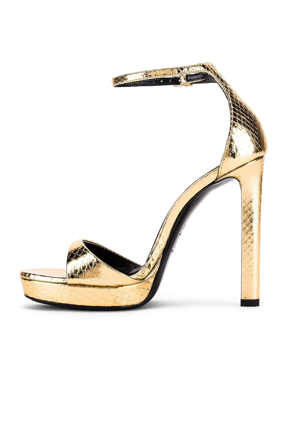 Image 5 of Saint Laurent Hall Ankle Strap Sandals in Gold