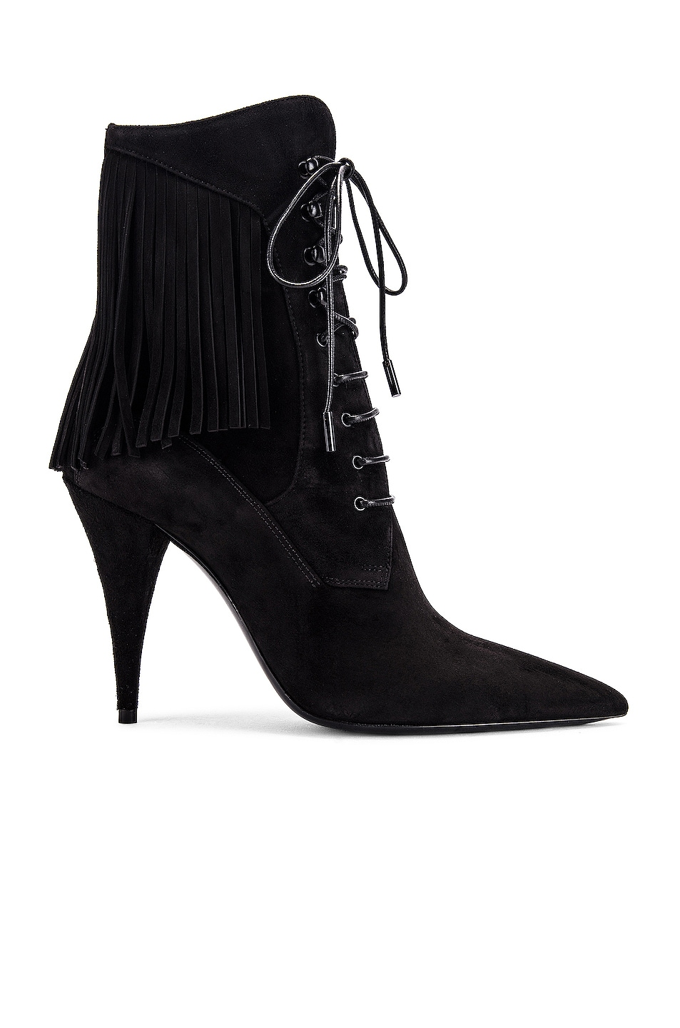 Image 1 of Saint Laurent Kiki Lace Up Fringe Ankle Booties in Black