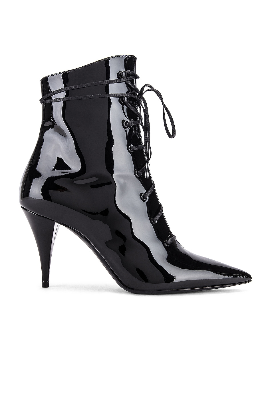 Image 1 of Saint Laurent Kiki Lace Up Ankle Booties in Black
