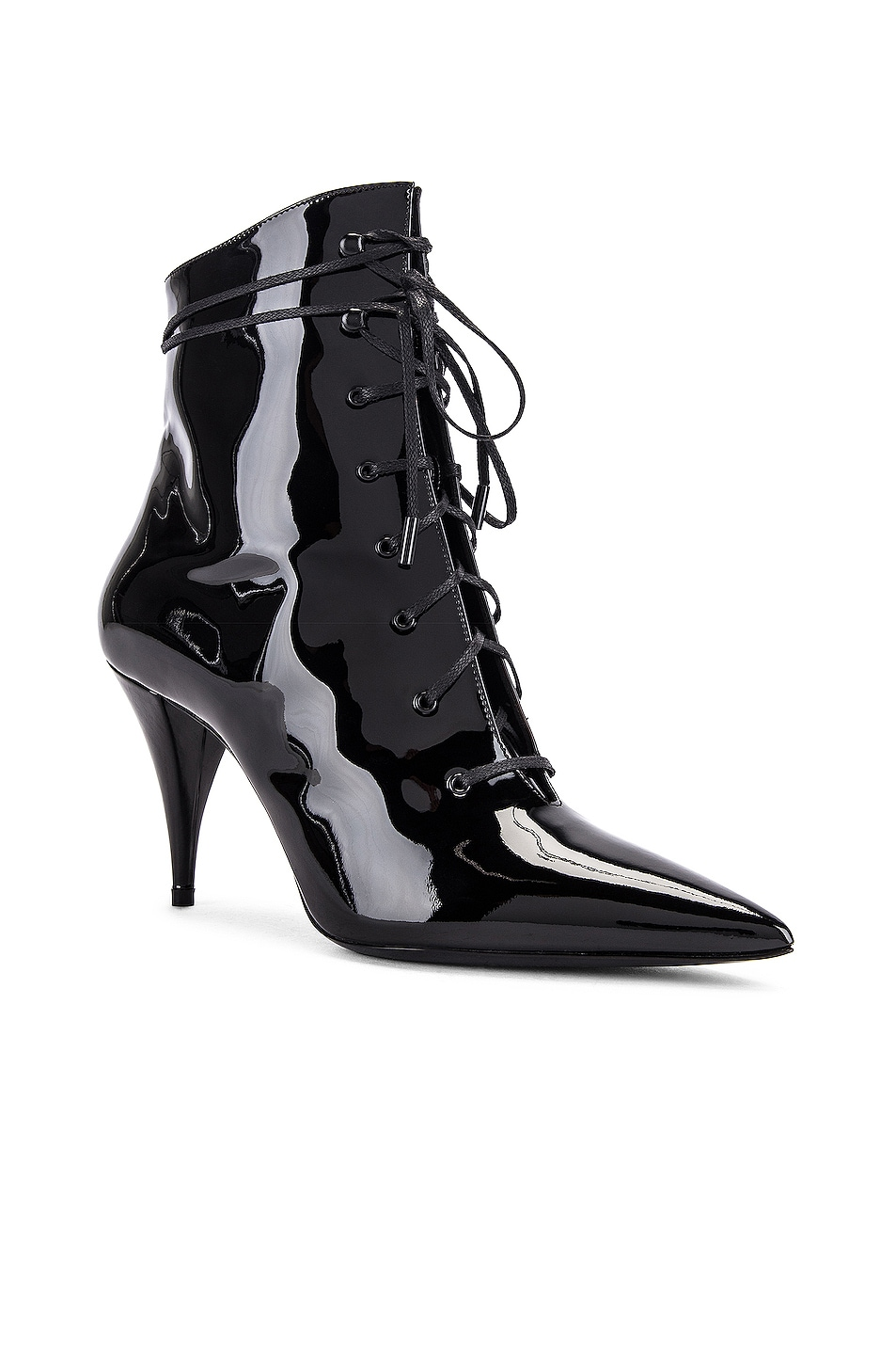 Image 2 of Saint Laurent Kiki Lace Up Ankle Booties in Black