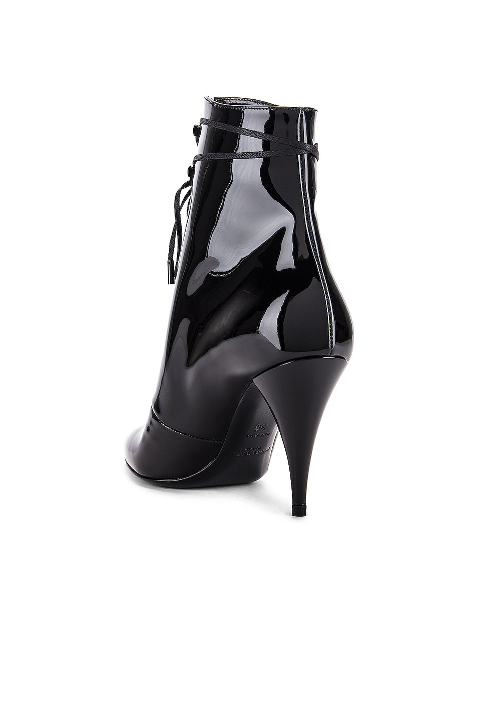 Image 3 of Saint Laurent Kiki Lace Up Ankle Booties in Black