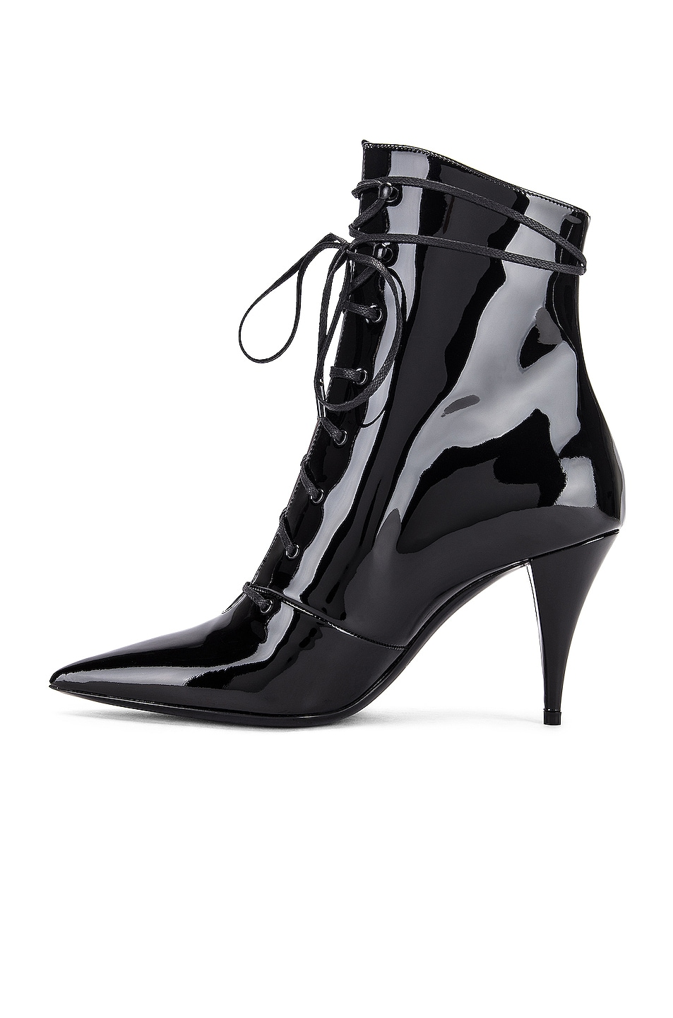 Image 5 of Saint Laurent Kiki Lace Up Ankle Booties in Black