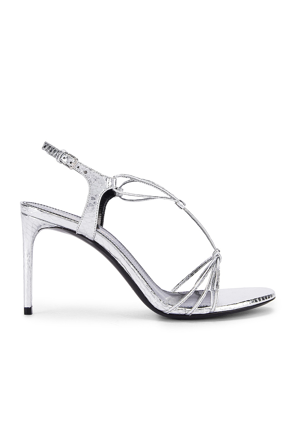 Image 1 of Saint Laurent Robin Lace Sandals in Silver