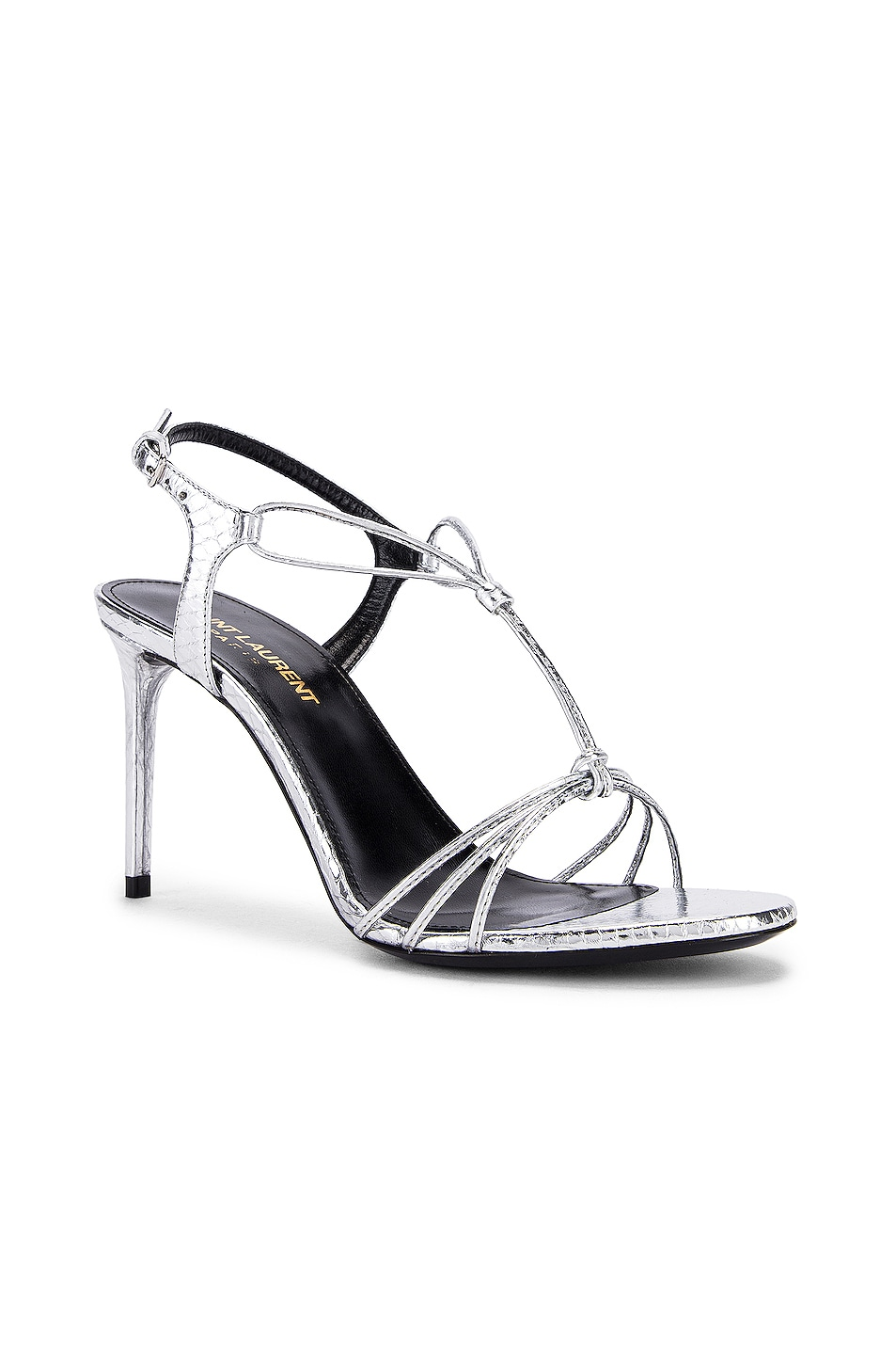 Image 2 of Saint Laurent Robin Lace Sandals in Silver