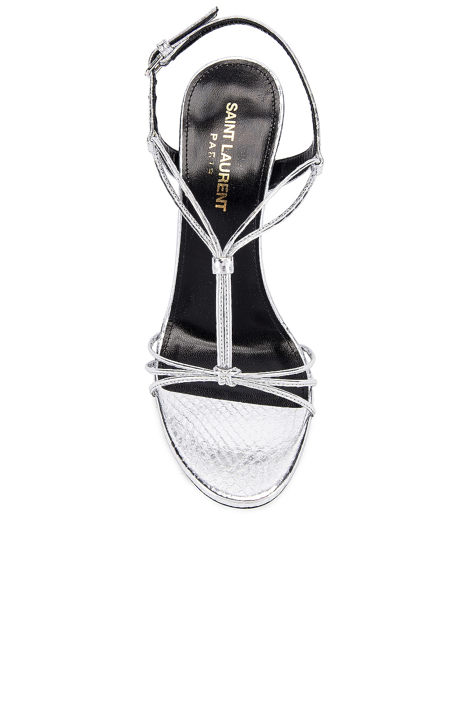 Image 4 of Saint Laurent Robin Lace Sandals in Silver