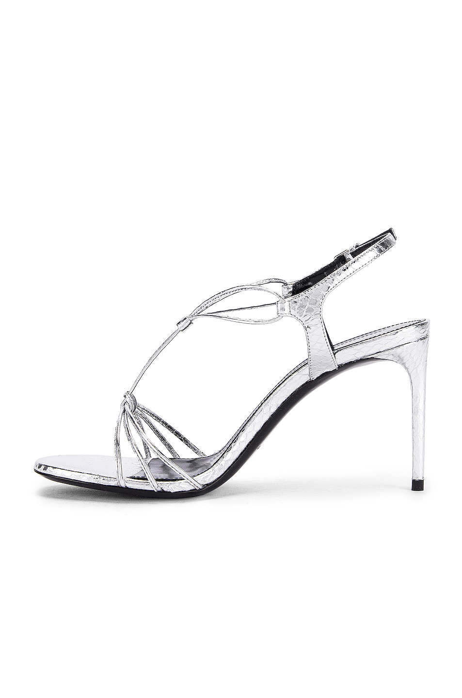 Image 5 of Saint Laurent Robin Lace Sandals in Silver