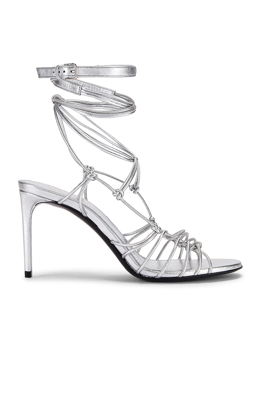 Image 1 of Saint Laurent Robin Zig Zag Heels in Silver