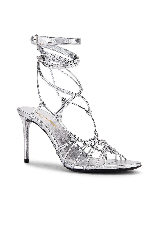 Image 2 of Saint Laurent Robin Zig Zag Heels in Silver