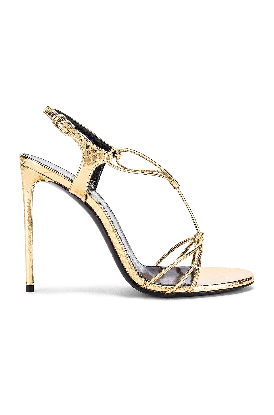 Image 1 of Saint Laurent Robin Lace Sandals in Gold
