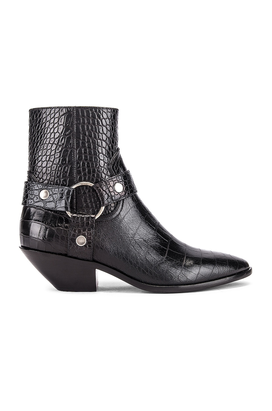 Image 1 of Saint Laurent West Strap Zip Ankle Boots in Black