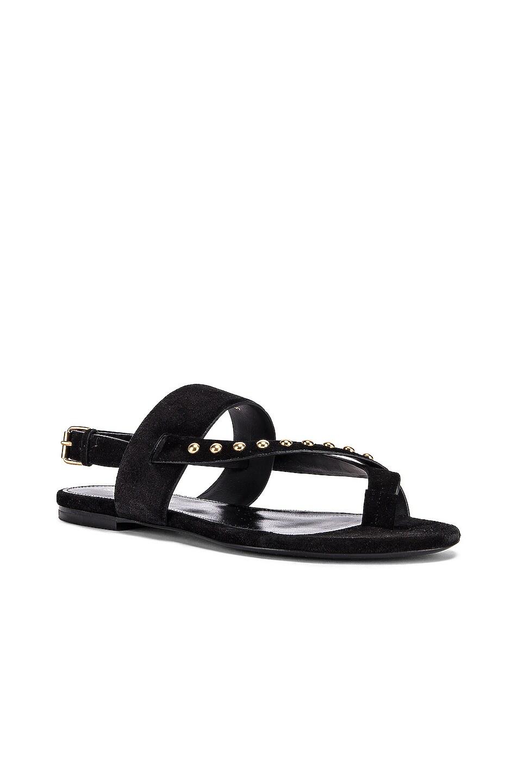 Image 2 of Saint Laurent Gia Stud Sandals in Black