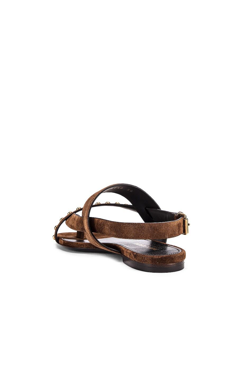 Image 3 of Saint Laurent Gia Stud Sandals in Land