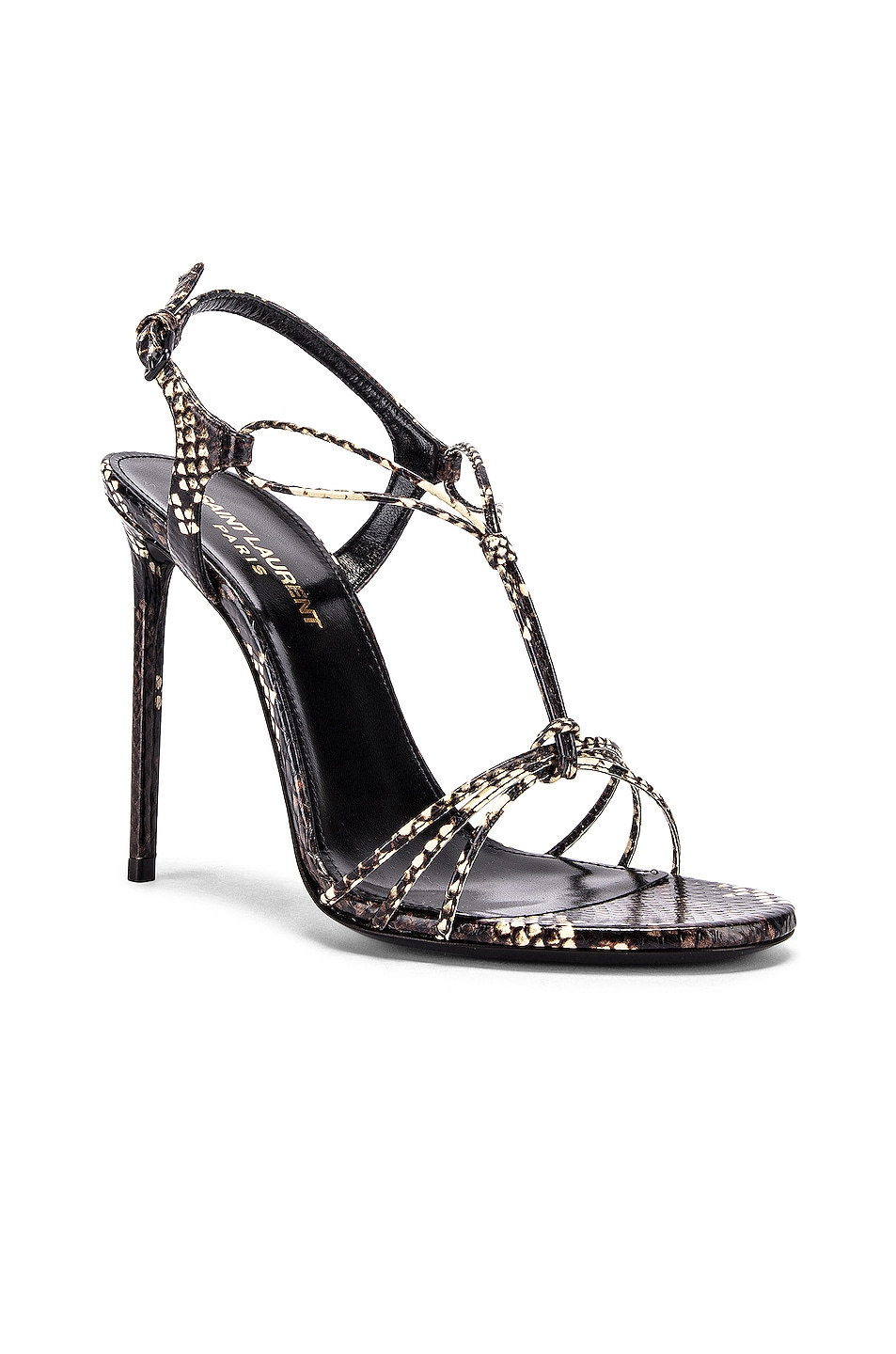 Image 2 of Saint Laurent Robin Lace Sandals in Brown