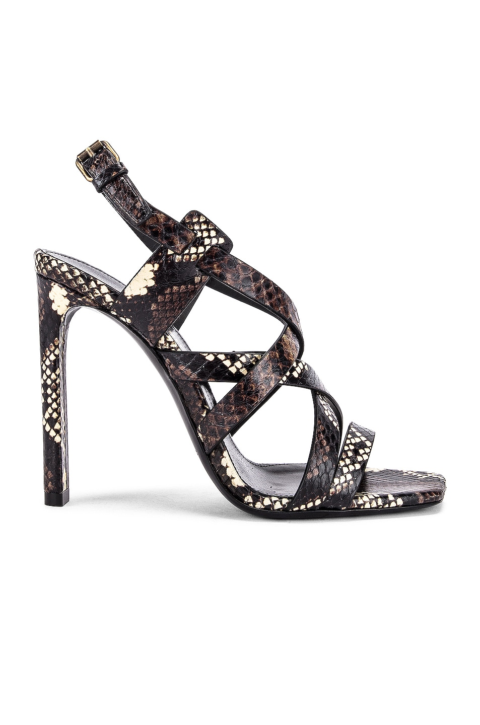 Image 1 of Saint Laurent Bea Ankle Strap Sandals in Brown