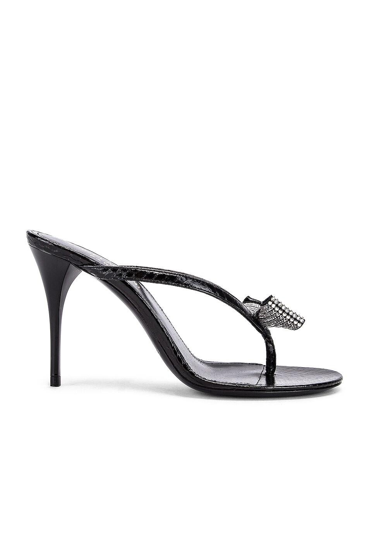 Image 1 of Saint Laurent Lexi Swarovski Bow Sandals in Black