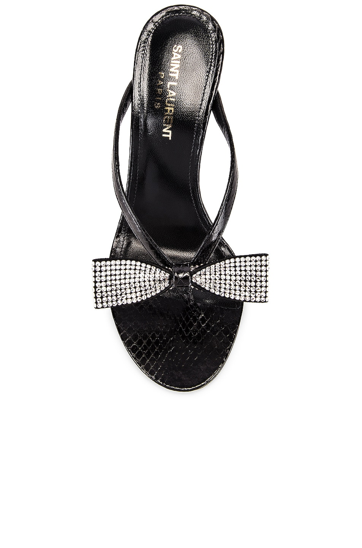 Image 4 of Saint Laurent Lexi Swarovski Bow Sandals in Black