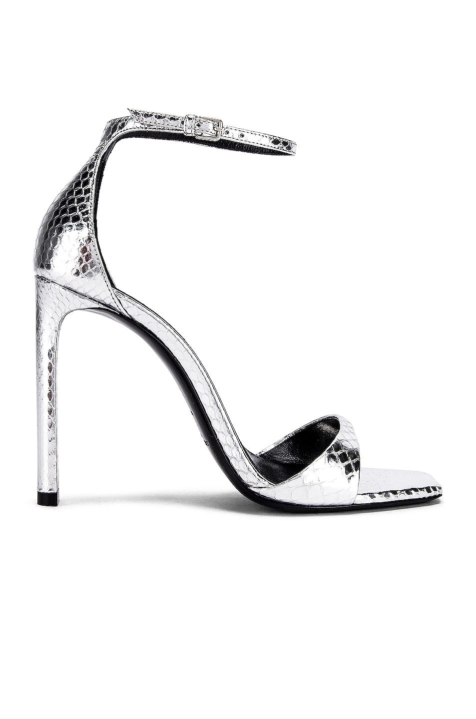 Image 1 of Saint Laurent Bea Ankle Strap Sandals in Silver