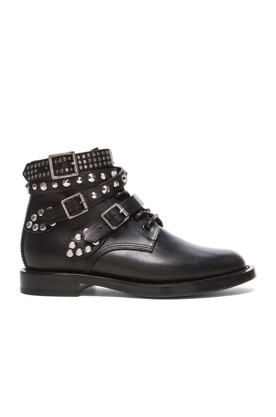 Saint Laurent Rangers Studded Low Combat Boots in Black | FWRD