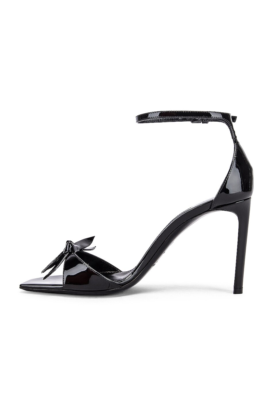 Image 5 of Saint Laurent Bea Bow Ankle Strap Sandals in Nero