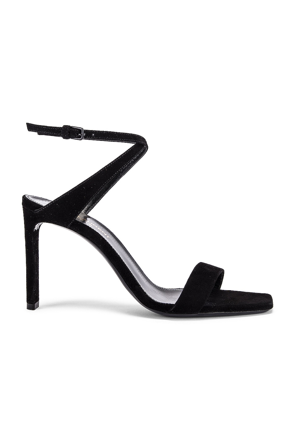Image 1 of Saint Laurent Bea Bow Ankle Strap Sandals in Nero