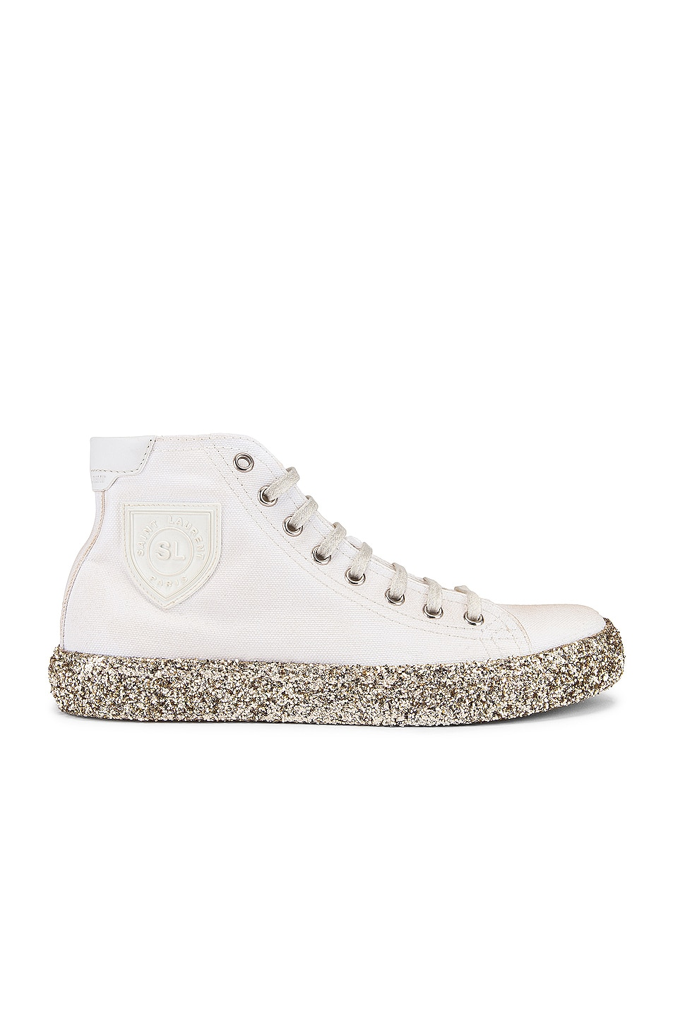 Image 1 of Saint Laurent Bedford Gold Sole High Top Sneakers in White