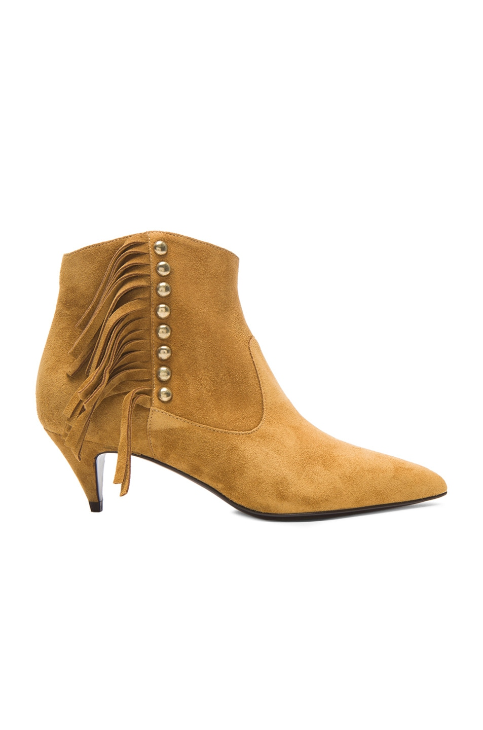 Image 1 of Saint Laurent Studded Fringe Suede Cat Boots in Tan