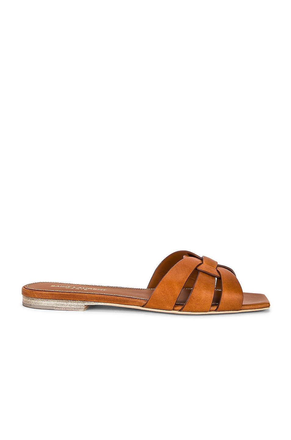Image 1 of Saint Laurent Tribute Flat Sandals in Amber