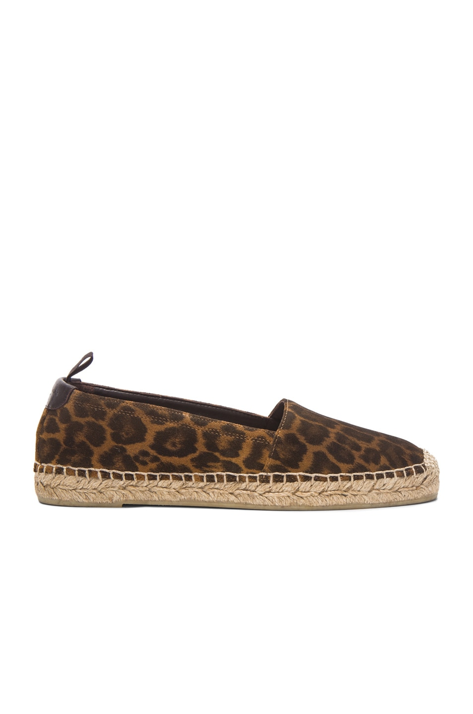 Image 1 of Saint Laurent Suede Leopard Espadrilles in Tan
