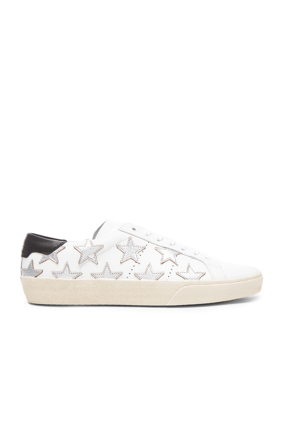 Image 1 of Saint Laurent Court Classic Star Leather Sneakers in Black & White