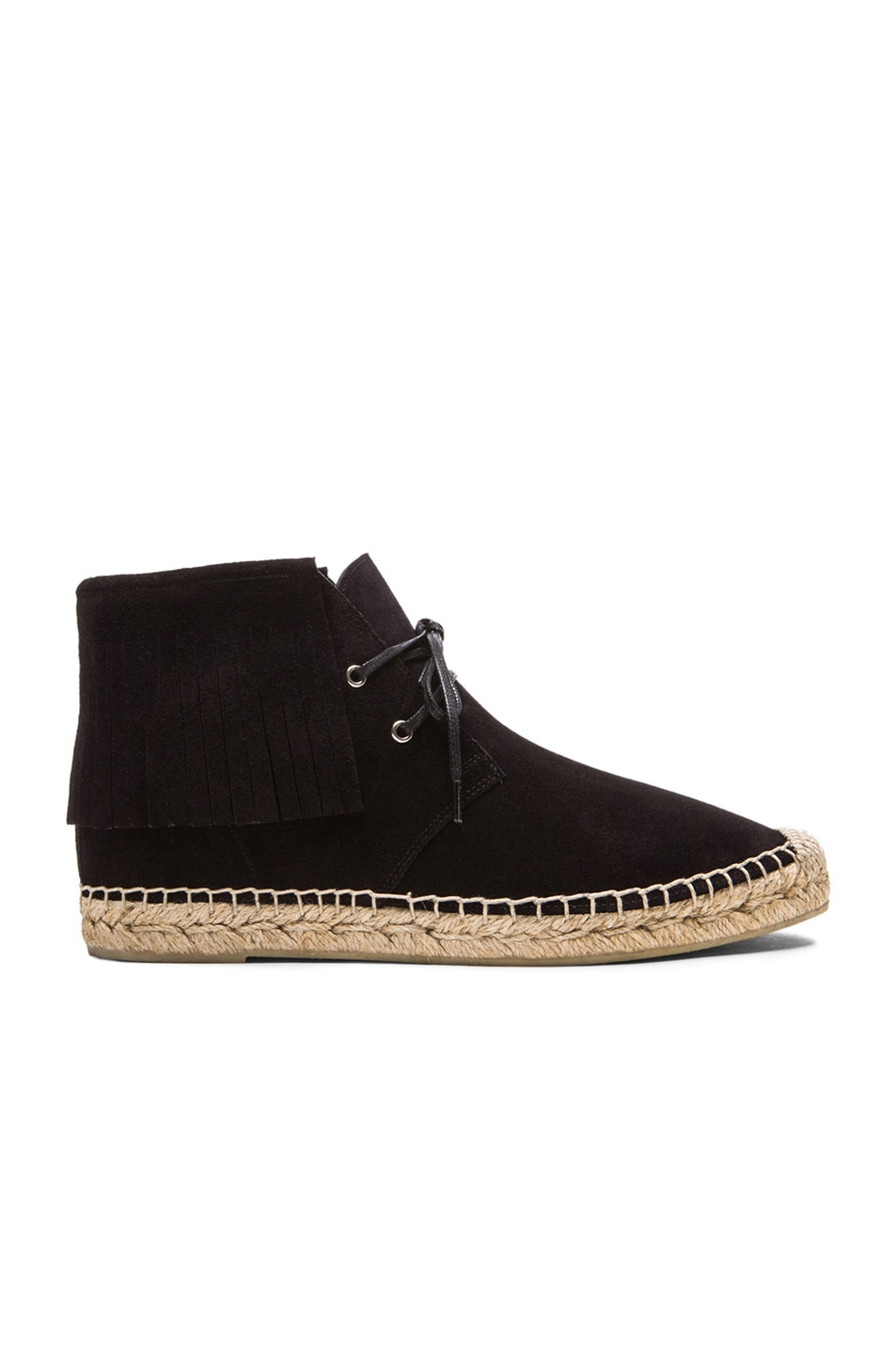 Image 1 of Saint Laurent Fringe Suede Espadrille Desert Boots in Black