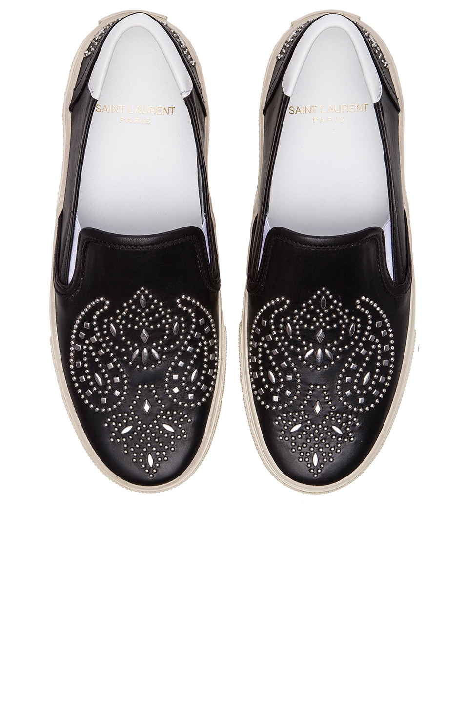 Image 1 of Saint Laurent Skate Bandana Studded Leather Sneakers in Noir