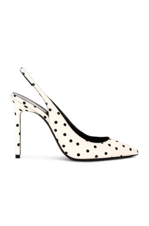 Image 1 of Saint Laurent Anja Slingback Heels in Creme & Noir