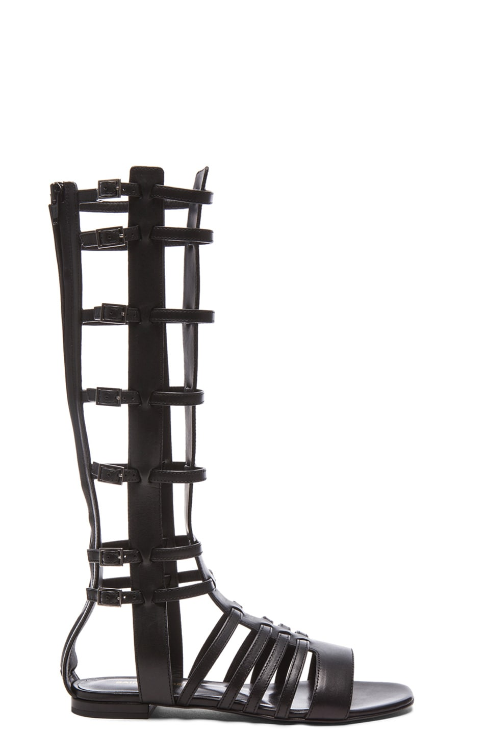 Image 1 of Saint Laurent Nu Pieds Gladiator Leather Sandals in Black