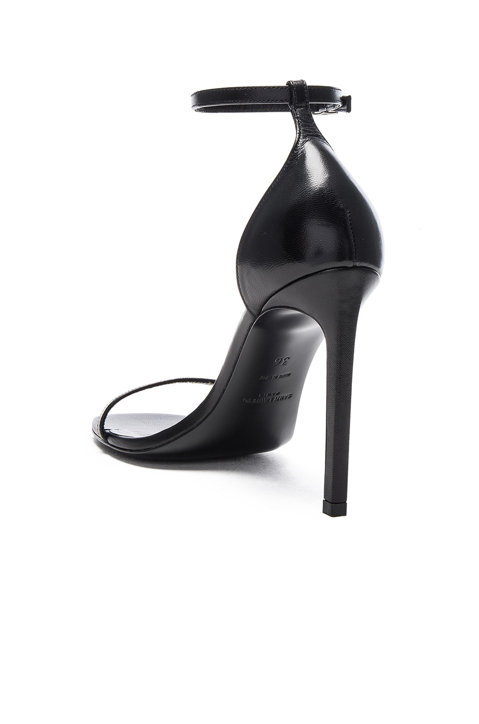 Image 3 of Saint Laurent Leather Jane Sandals in Black