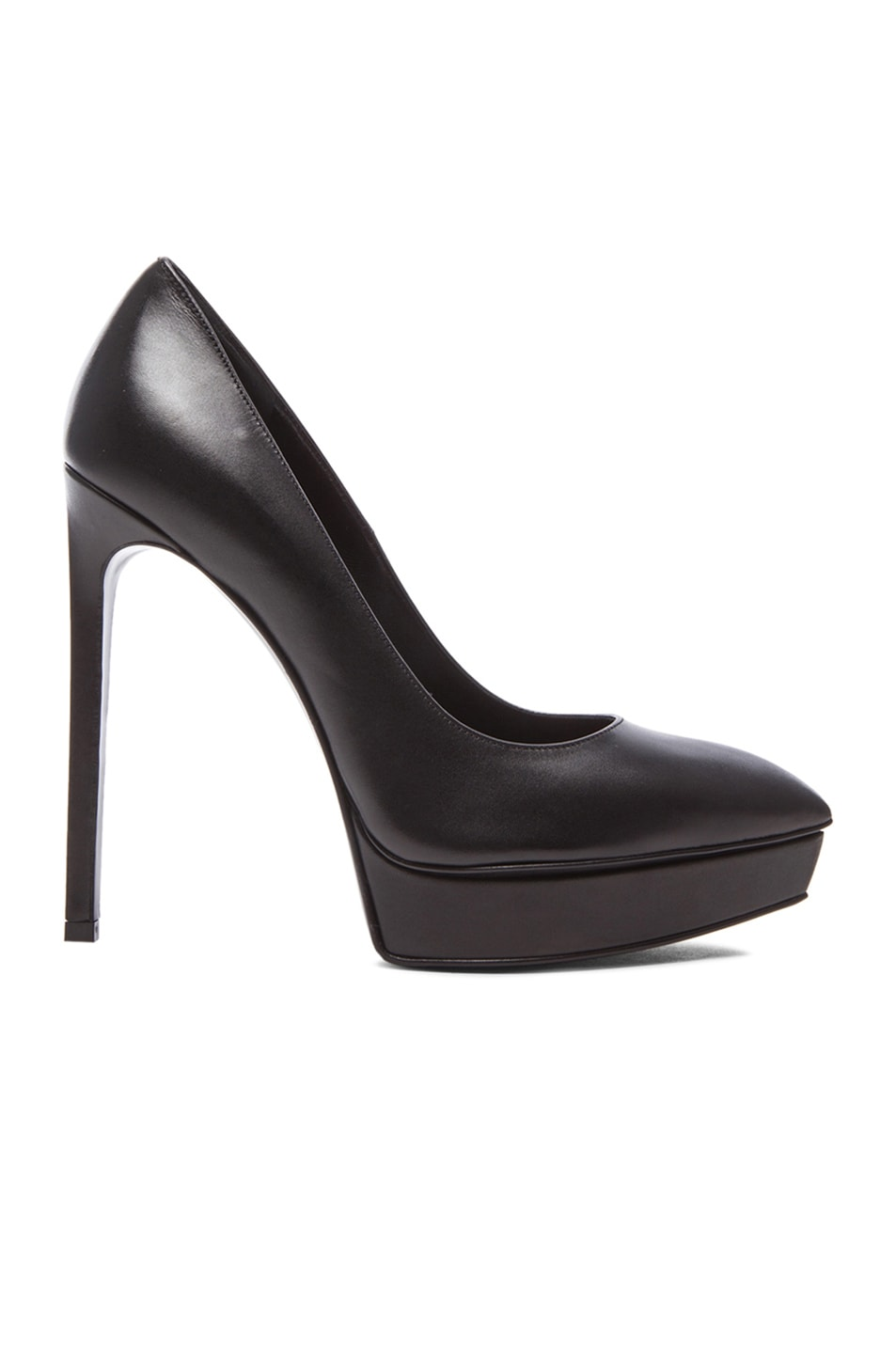Image 1 of Saint Laurent Janis Platform Leather Pumps in Black