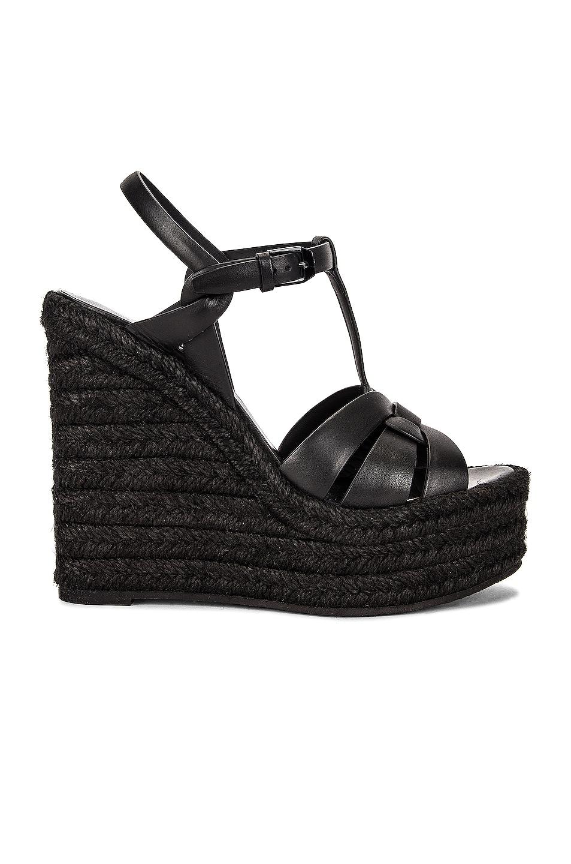Image 1 of Saint Laurent Tribute Espadrille Wedge Sandals in Noir