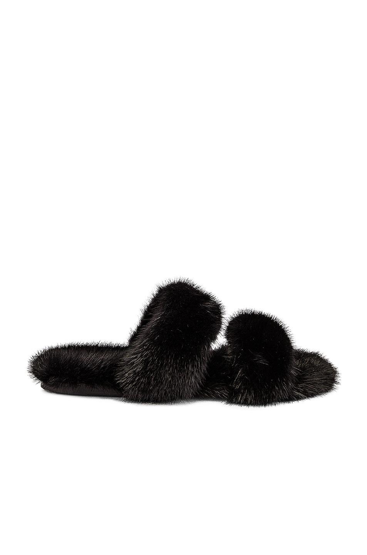 Image 1 of Saint Laurent Bleach Flat Sandals in Noir