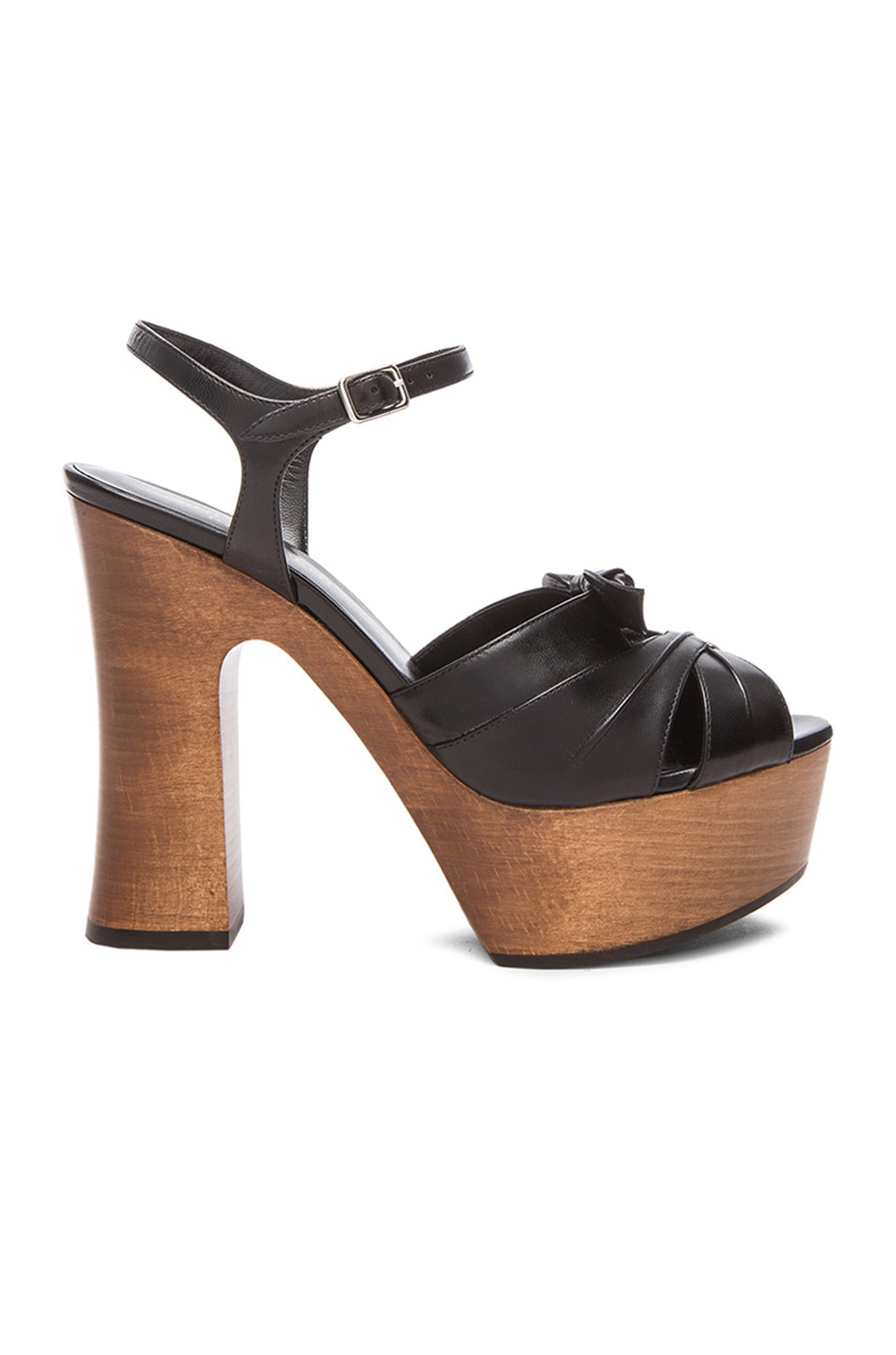 brand new unisex Yves Saint Laurent Bow-Accented Leather Sandals countdown package online Fsgo2dF