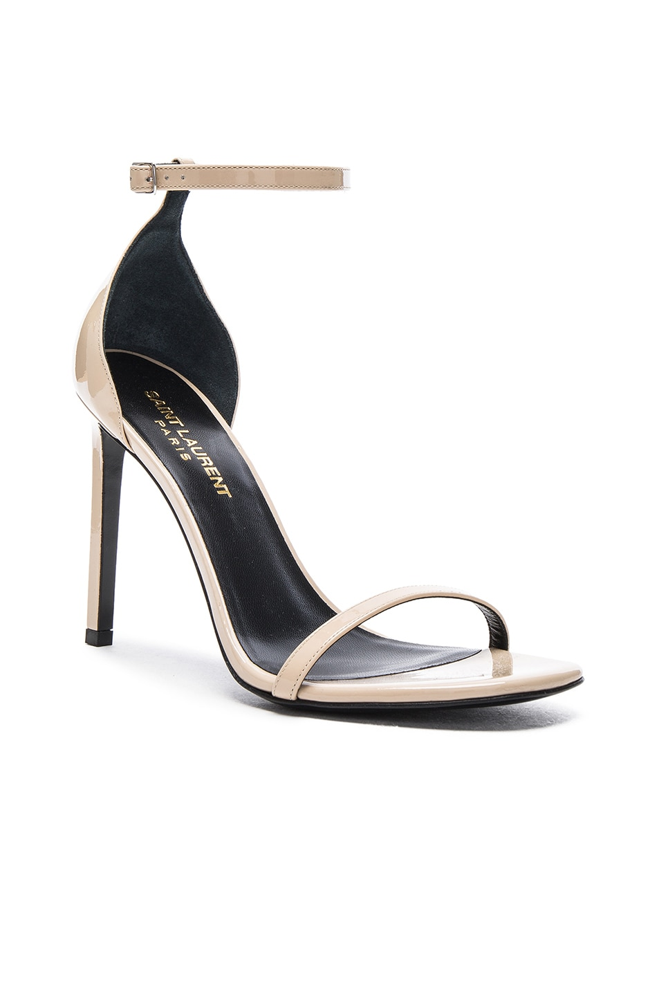 Image 2 of Saint Laurent Patent Leather Jane Sandals in Poudre