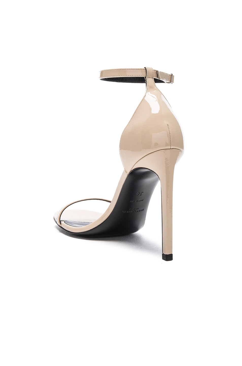 Image 3 of Saint Laurent Patent Leather Jane Sandals in Poudre