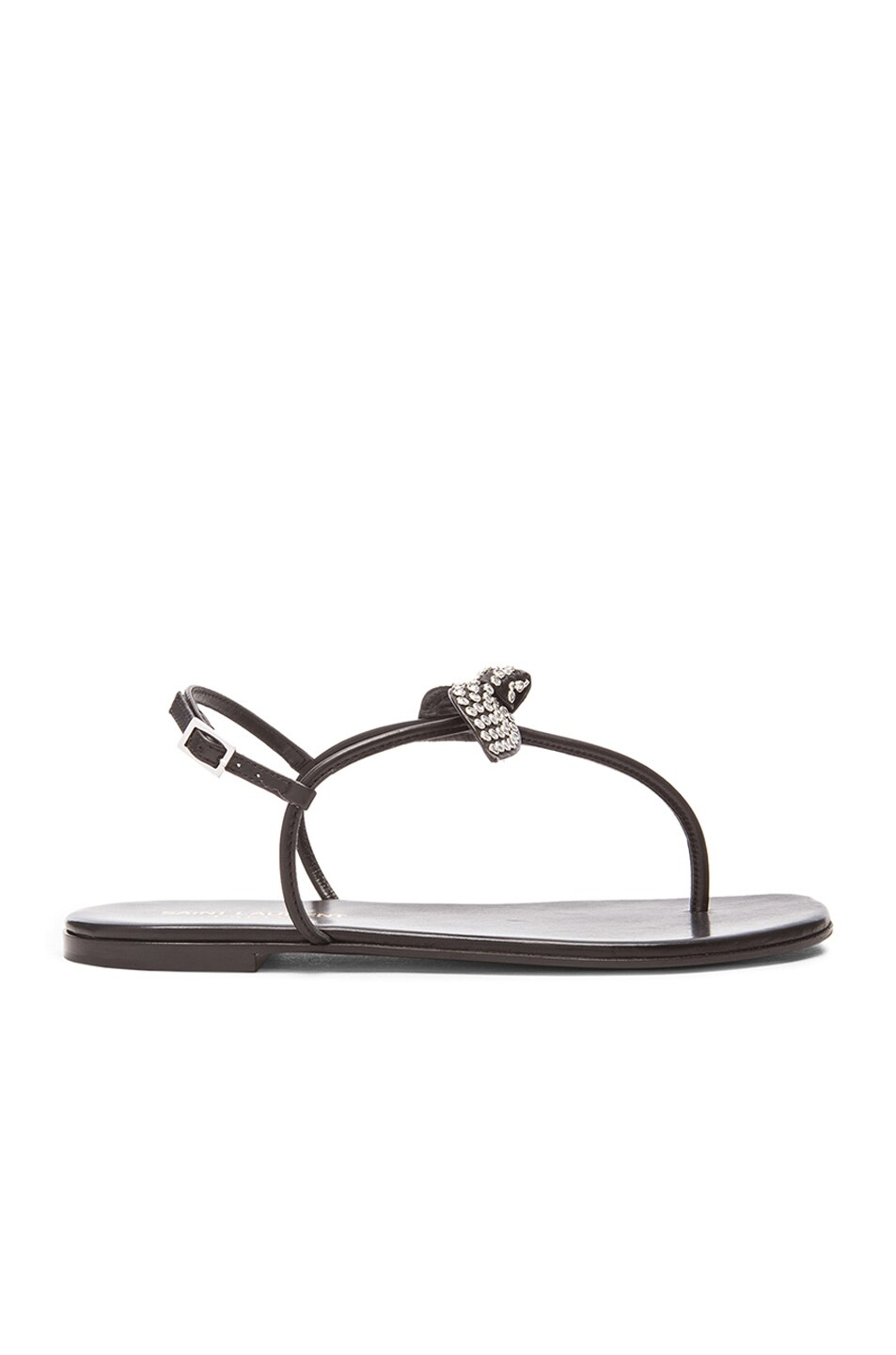 Image 1 of Saint Laurent Nu Pied Studded Bow Leather Sandals in Black